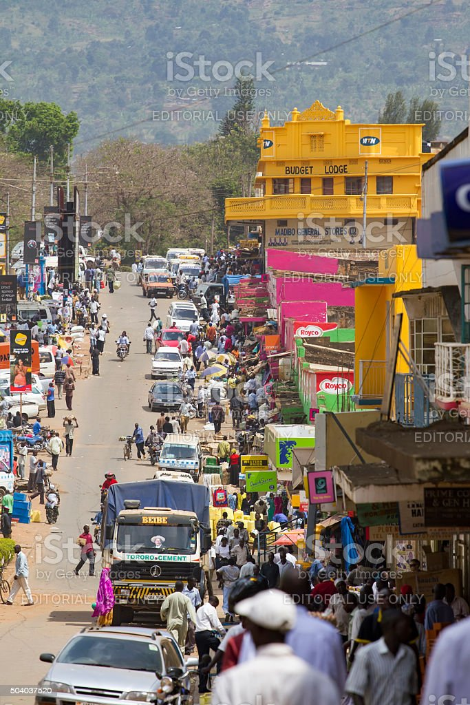 Busy market street in eastern Uganda stock photo