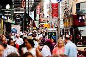 Busy midtown sidewalks in New York