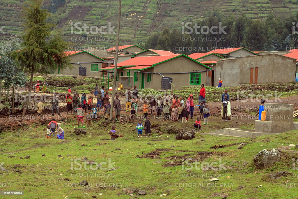 Busy model resettlement village in Northern Rwanda stock photo