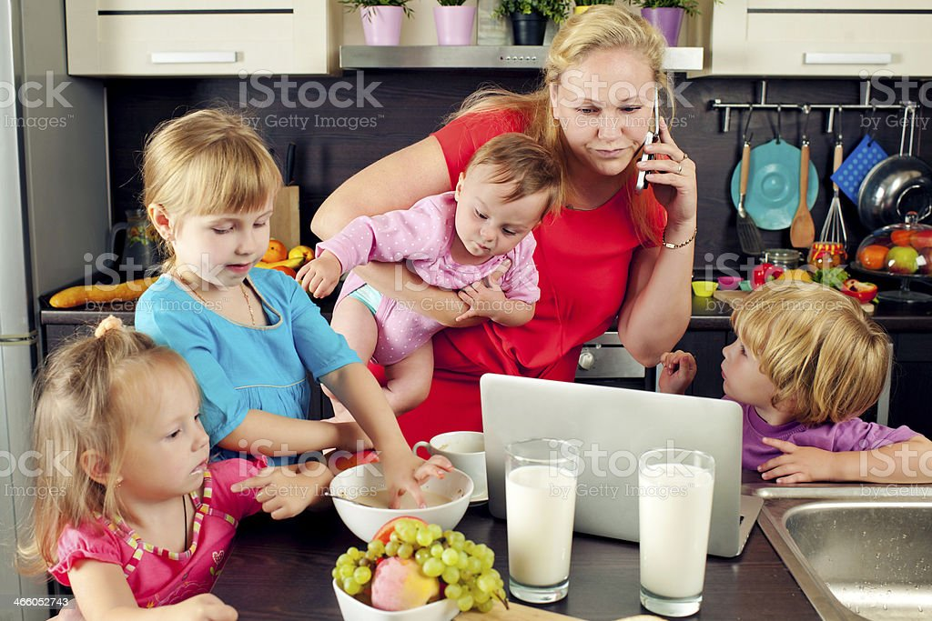 Busy mother stock photo