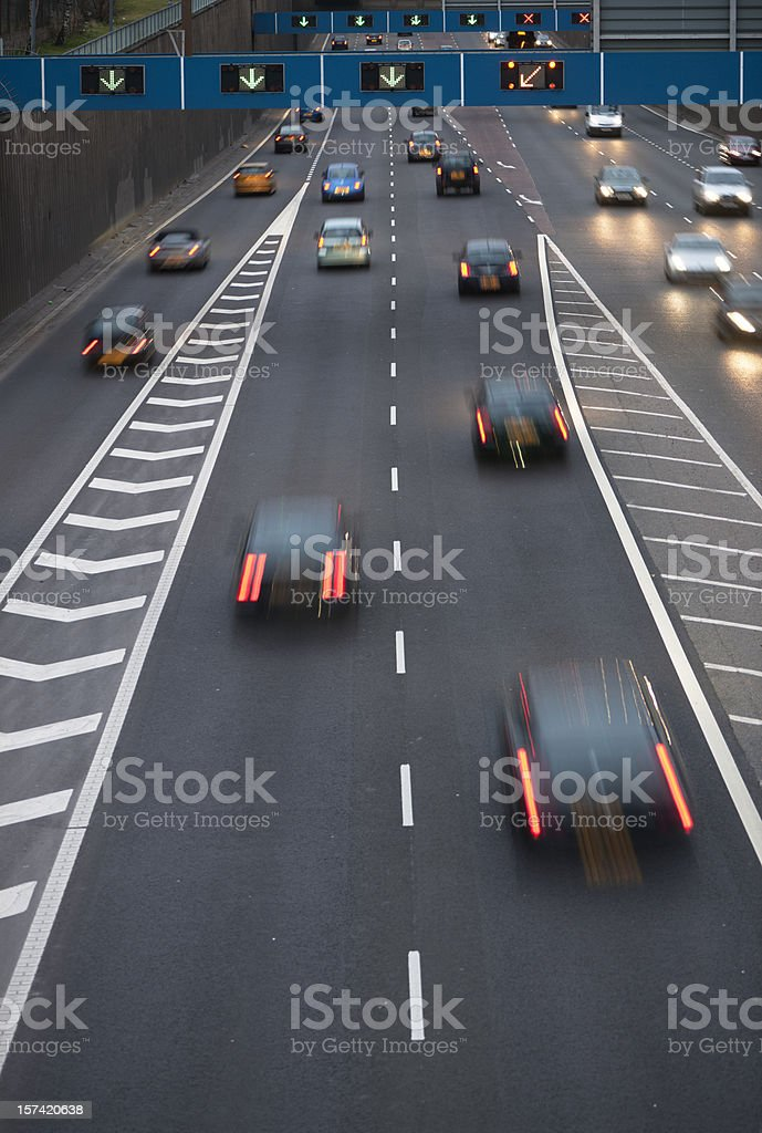 Busy Motorway at dusk royalty-free stock photo