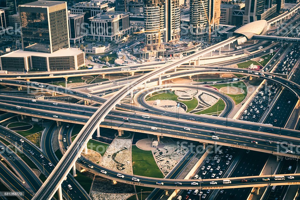 Busy Motorway Junction in Dubai, United Arab Emirates stock photo