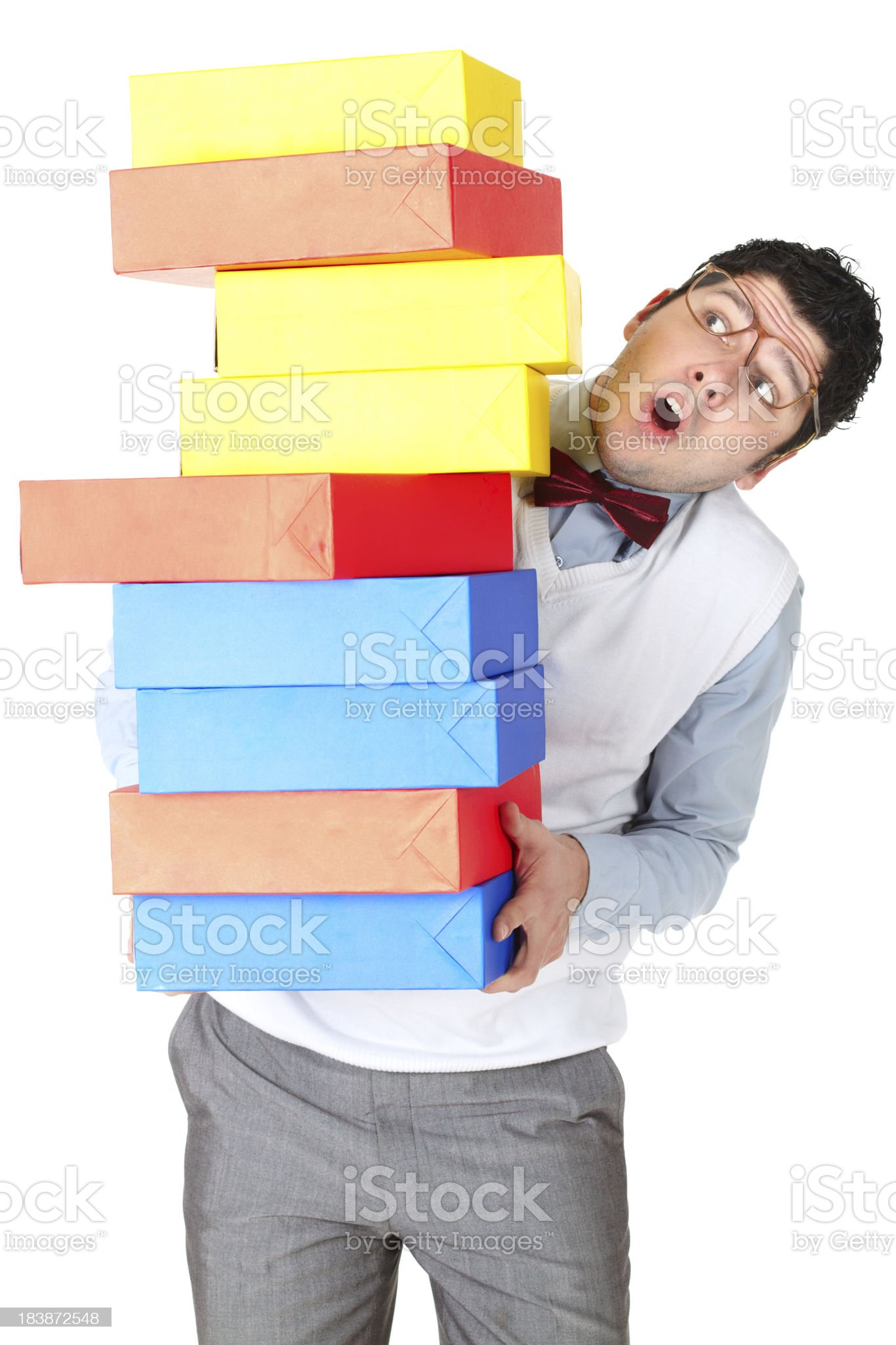 Busy nerdy office worker royalty-free stock photo