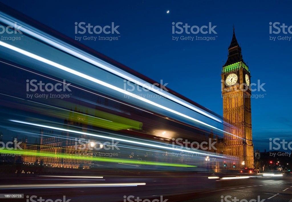 Busy night time London traffic. Big Ben. royalty-free stock photo