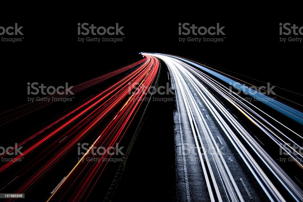 Busy Night Traffic Motion Blur royalty-free stock photo