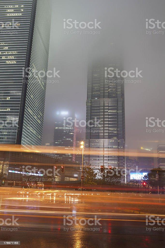 busy night traffic of shanghai. China royalty-free stock photo
