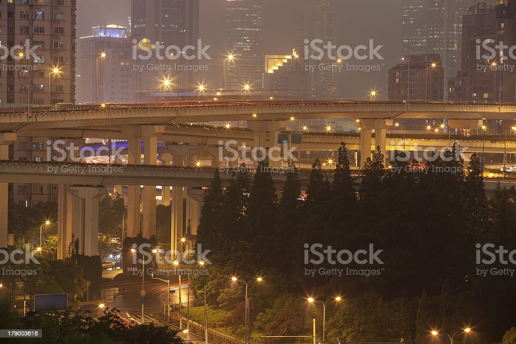 busy night traffic royalty-free stock photo