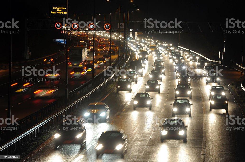 Busy Nightime Traffic stock photo