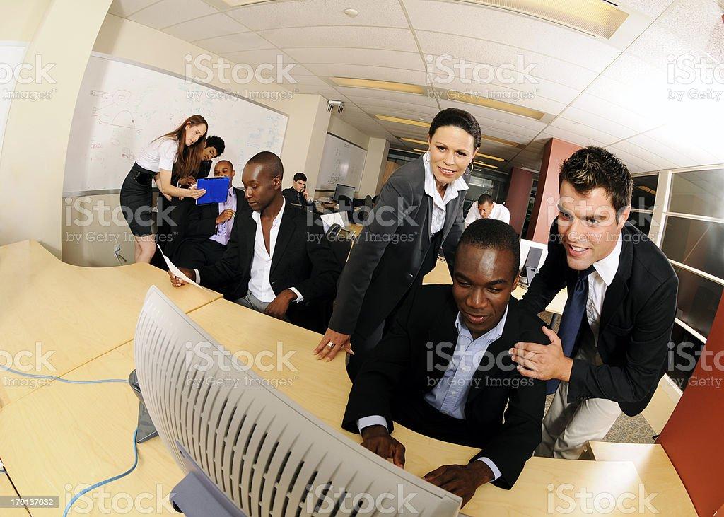 Busy Office Environment Fisheye stock photo