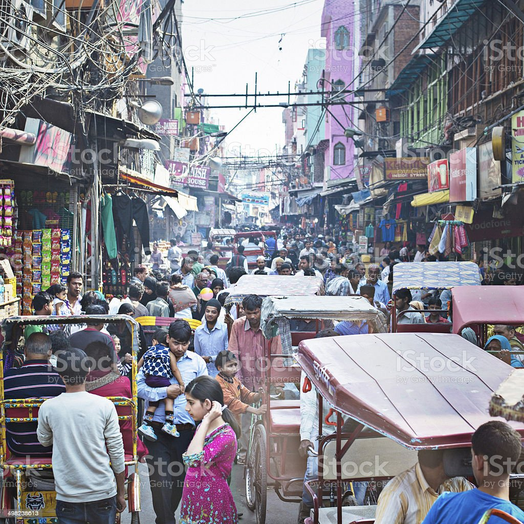 Busy Old Delhi stock photo