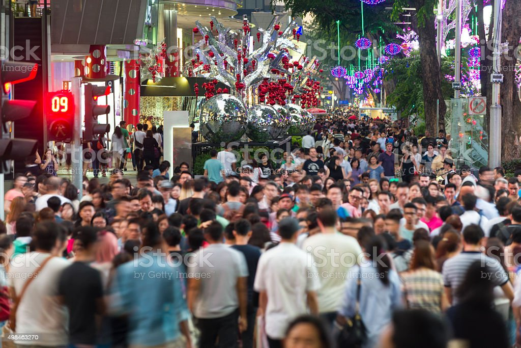 Busy Orchard Road During Christmas Festive Season stock photo