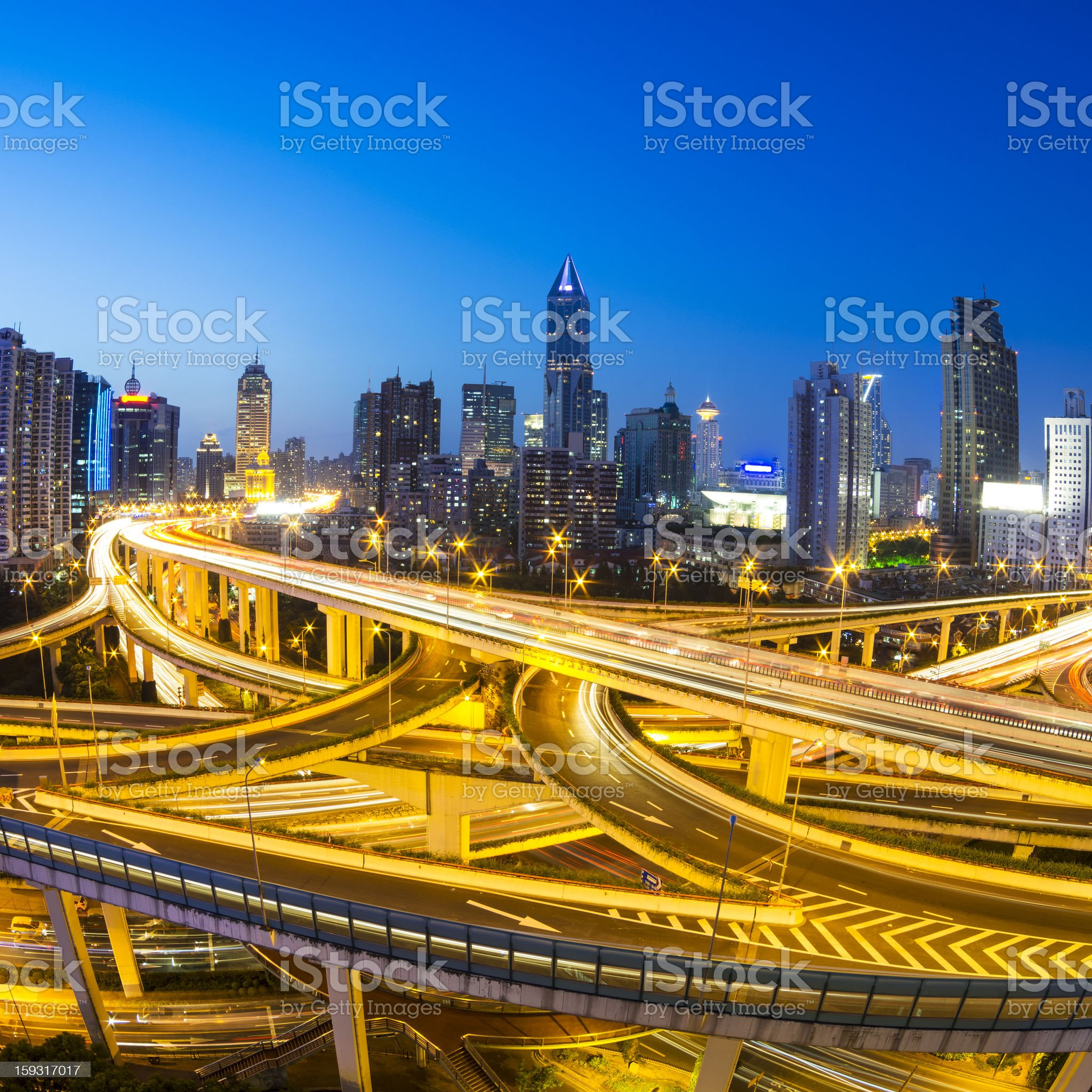 busy overpass in shanghai royalty-free stock photo