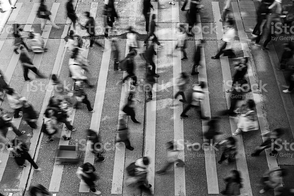 Busy pedestrian crossing at Hong Kong (Black And White) stock photo