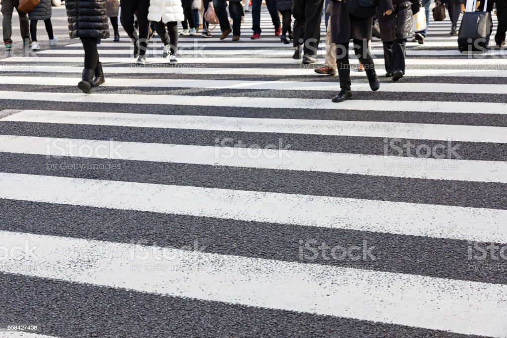 Busy pedestrian crossing at Tokyo stock photo