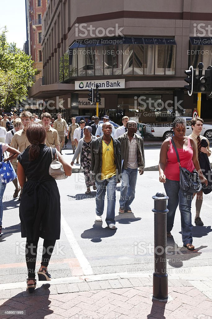 Busy pedestrian crossing in downtown Cape Town stock photo