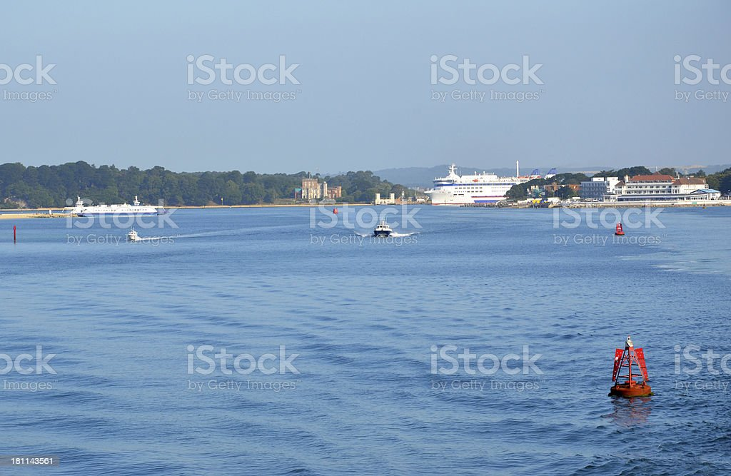 Busy Poole Harbour stock photo