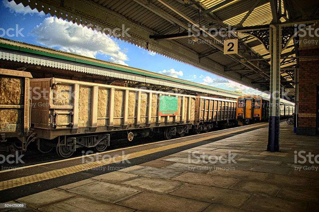 Busy railway station - HDR stock photo