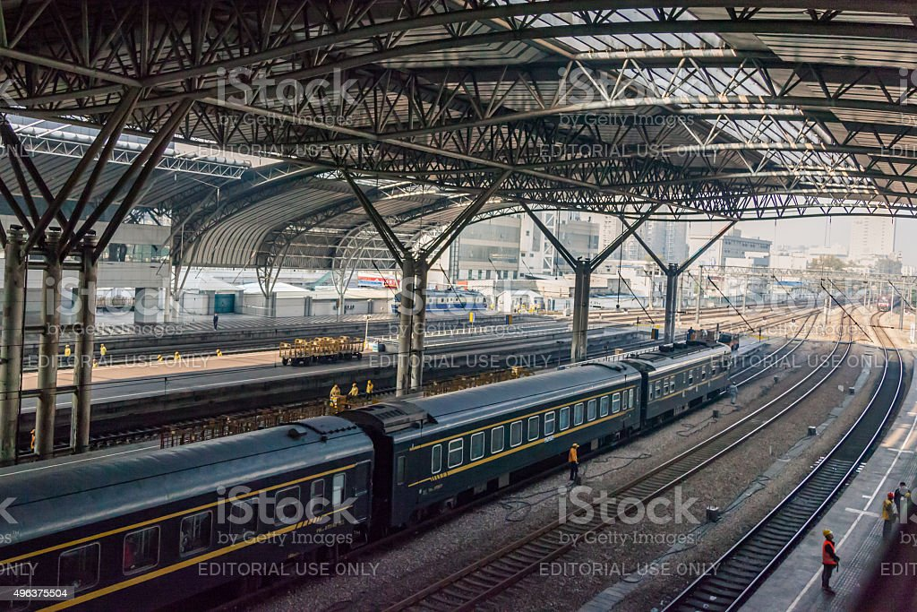 Busy railway station stock photo
