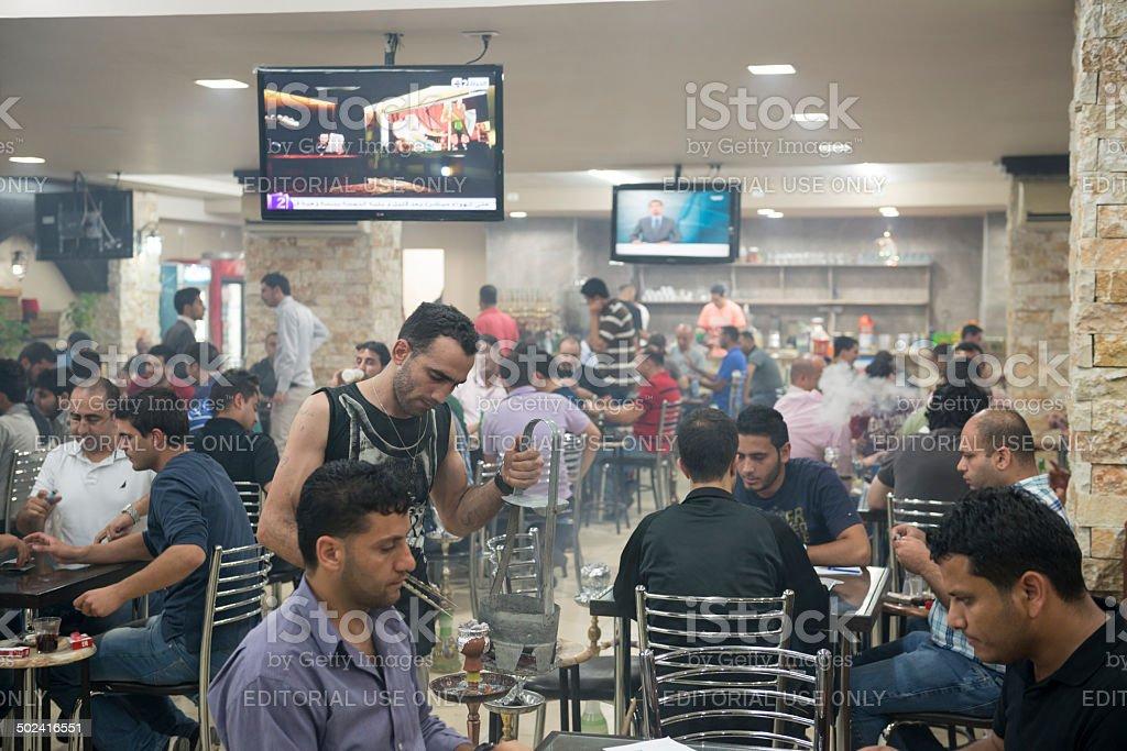 Busy Ramallah cafe scene stock photo