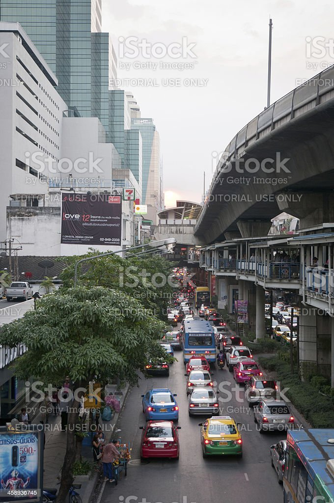 Busy Road And Elevated Train Track In Bangkok royalty-free stock photo