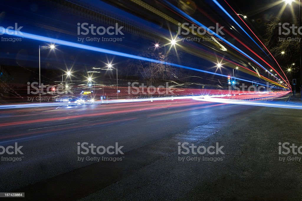 Busy Road Junction at Night-See lightbox below for related images royalty-free stock photo
