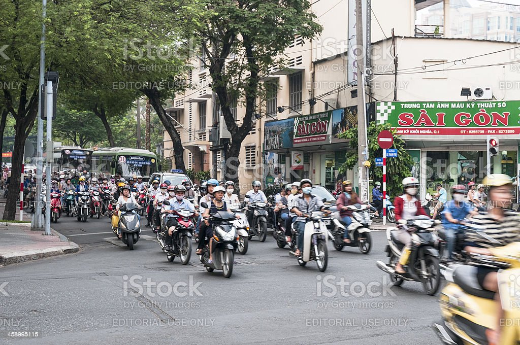 Busy Road Junction In Ho Chi Minh City royalty-free stock photo