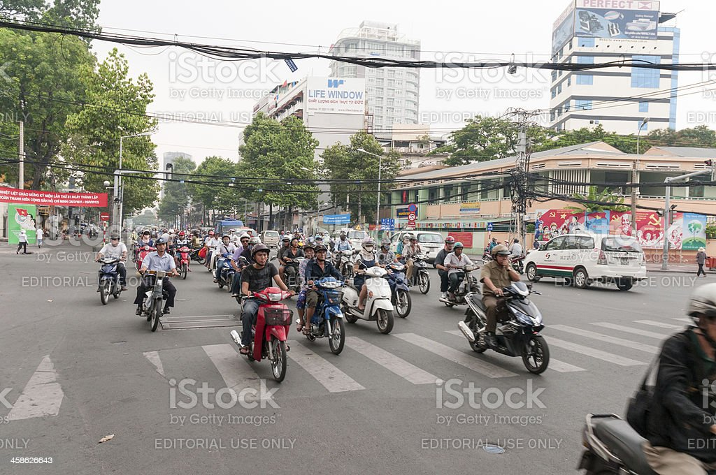 Busy Road Junction In Ho Chi Minh City, Vietnam royalty-free stock photo