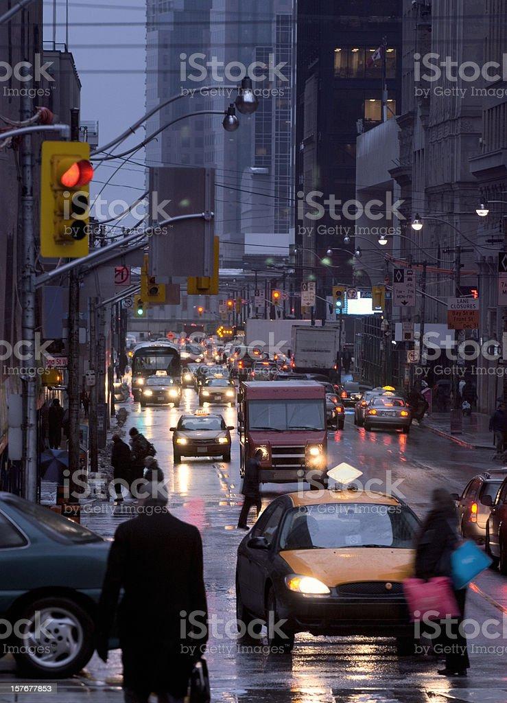 Busy rush hour traffic at Bay Street, Toronto, Canada. royalty-free stock photo