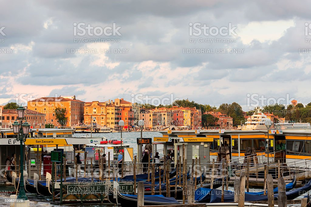 Busy San Zaccaria station in Venice stock photo