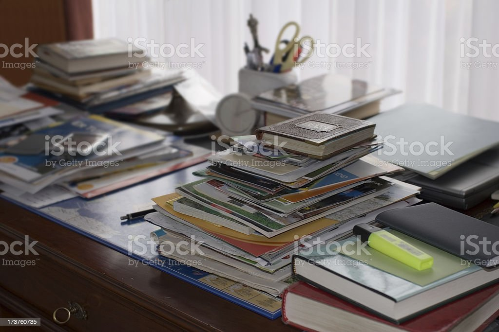 Busy schedule at the home office stock photo