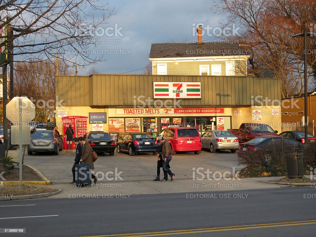 Busy Seven Eleven Store in Washington DC stock photo