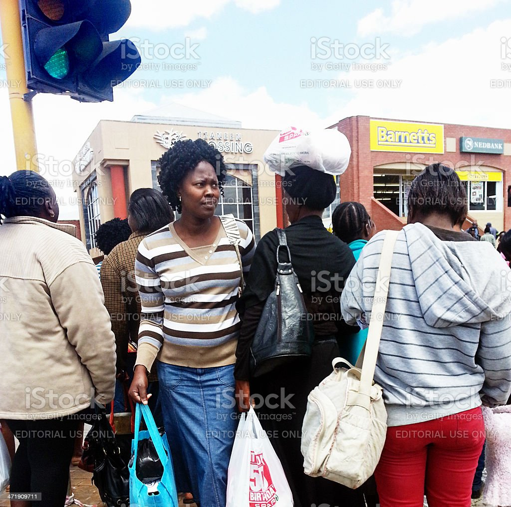 Busy shoppers at Tzaneen in South Afria's Limpopo province stock photo