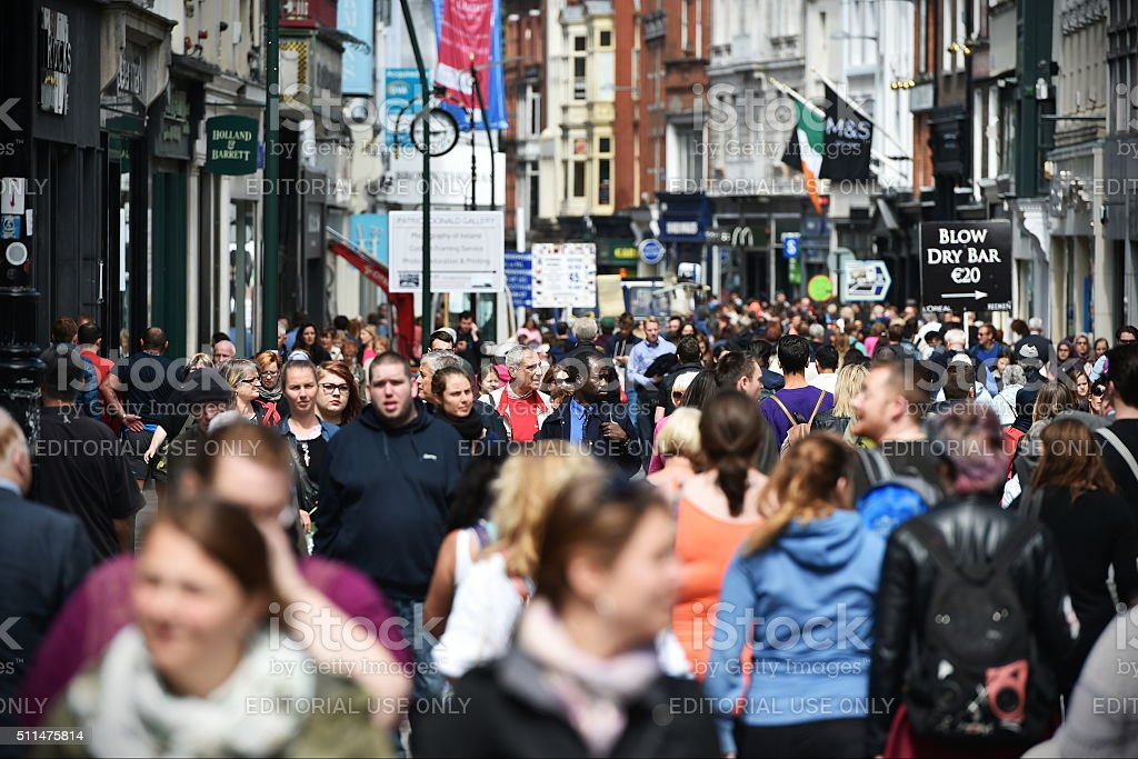 Busy Shopping Street - Grafton Street in Dublin stock photo