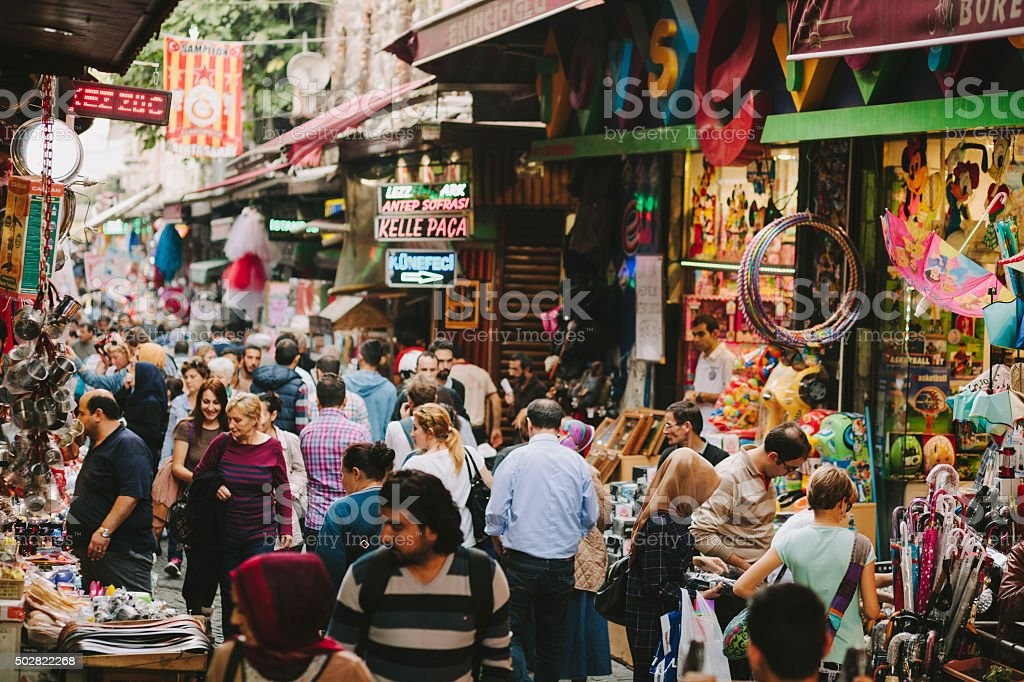 Busy Shopping Street in Istanbul stock photo