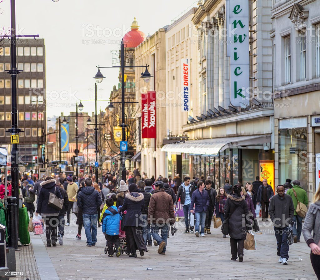 Busy shopping street in Newcastle, England stock photo