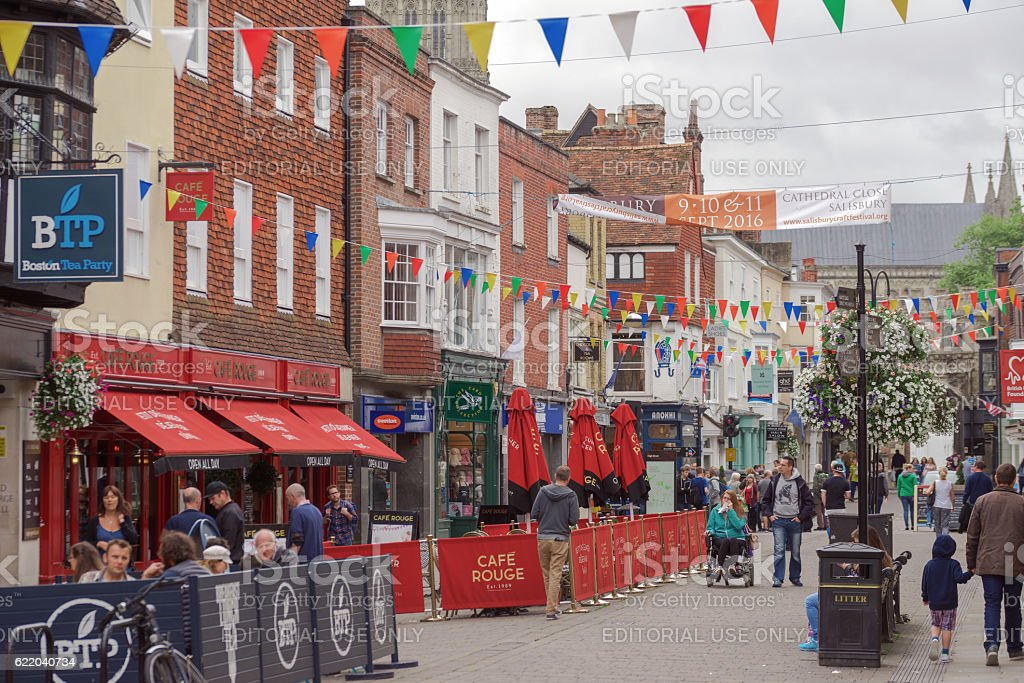 Busy shopping street in Salisbury stock photo