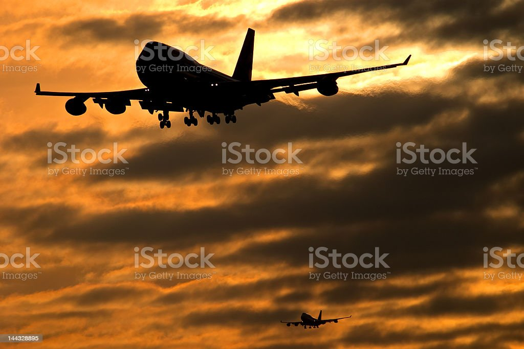 Busy skies in the early morning stock photo