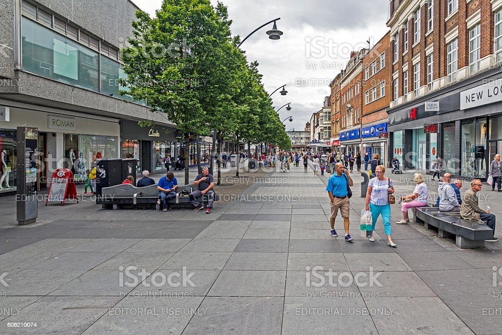 Busy Southport Shopping Streets stock photo