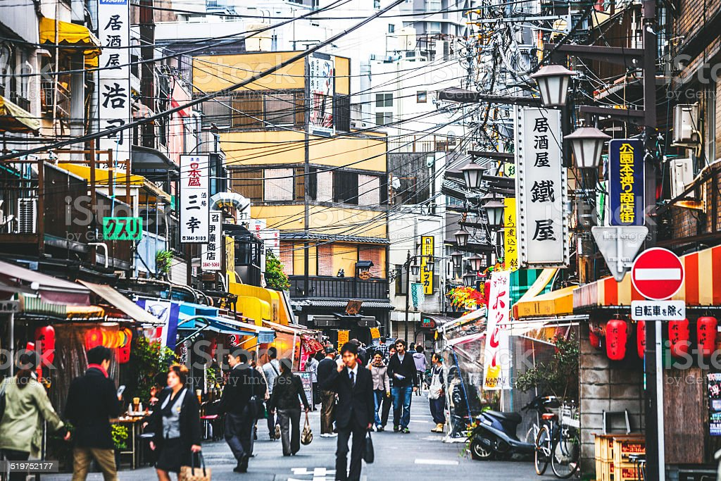 Busy street in Asakusa district. stock photo