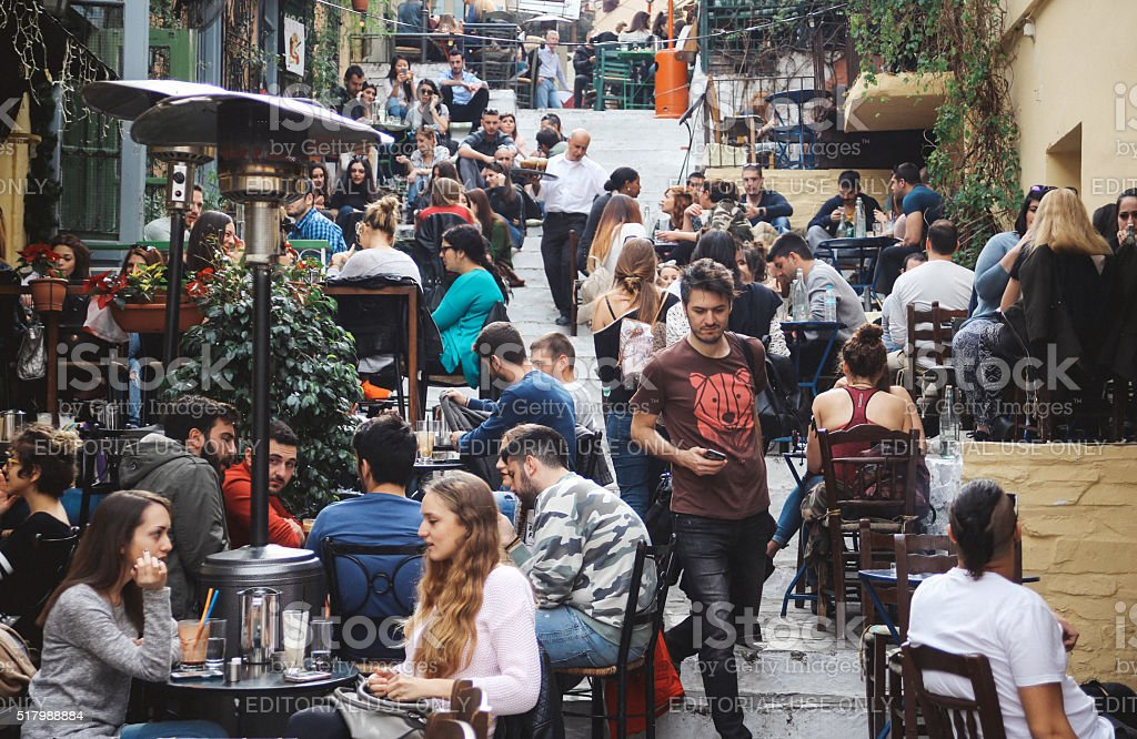 Busy street in Athens, Greece stock photo