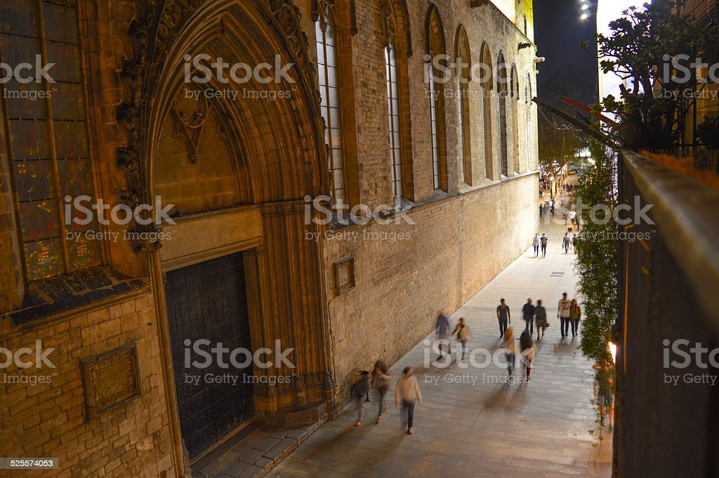 Busy street in Barcelona stock photo
