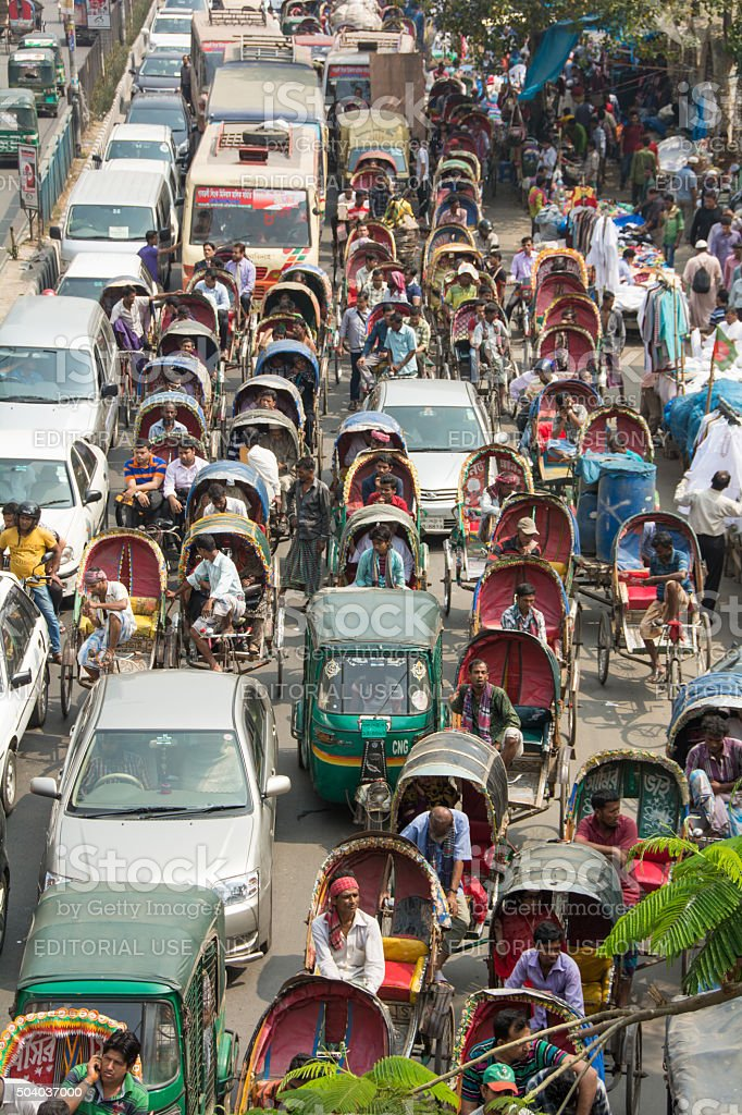 Busy street in Dhaka Bangladesh stock photo