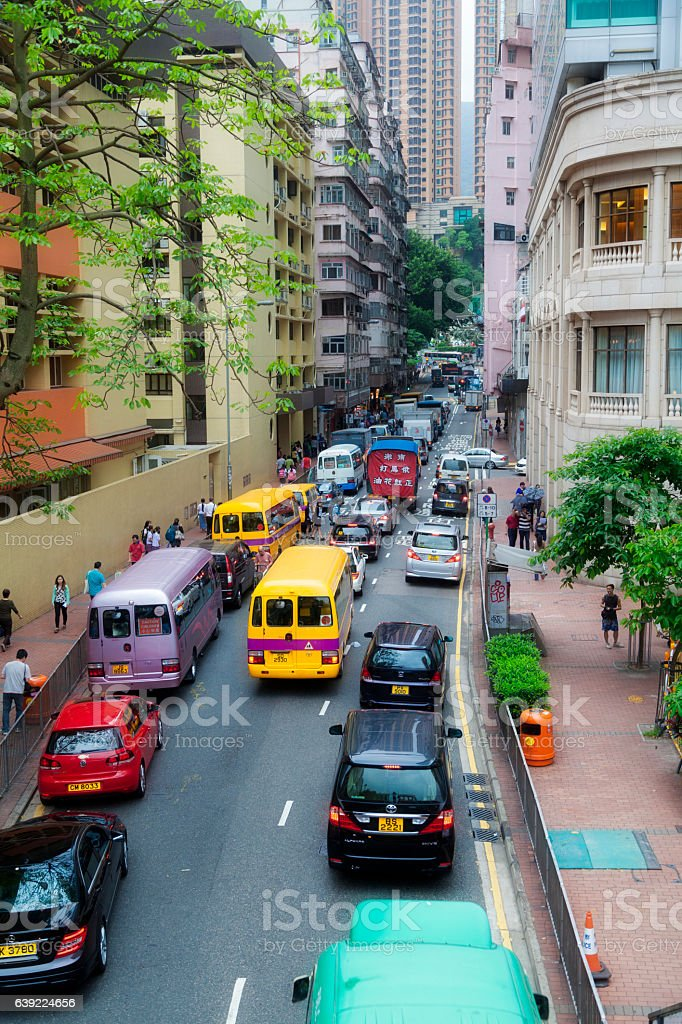 Busy street in Hong Kong stock photo