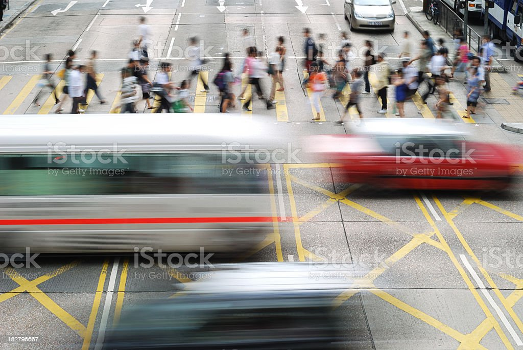 Busy street in Hong Kong with cars royalty-free stock photo