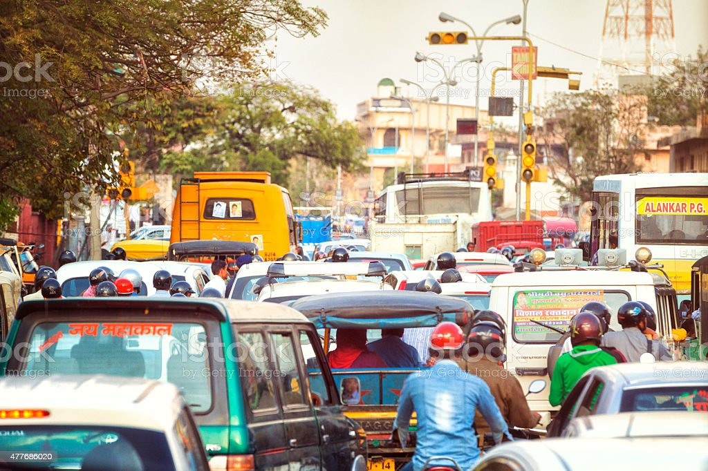 Busy Street in Jaipur, India. stock photo