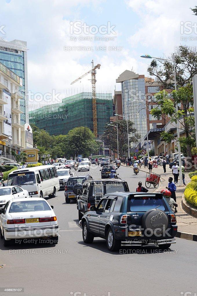 Busy street in Kigali, Rwanda royalty-free stock photo