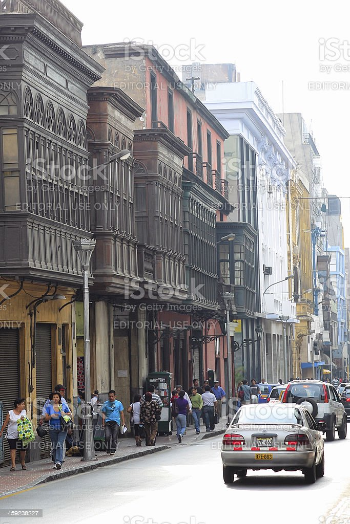 Busy Street in Lima, Peru royalty-free stock photo