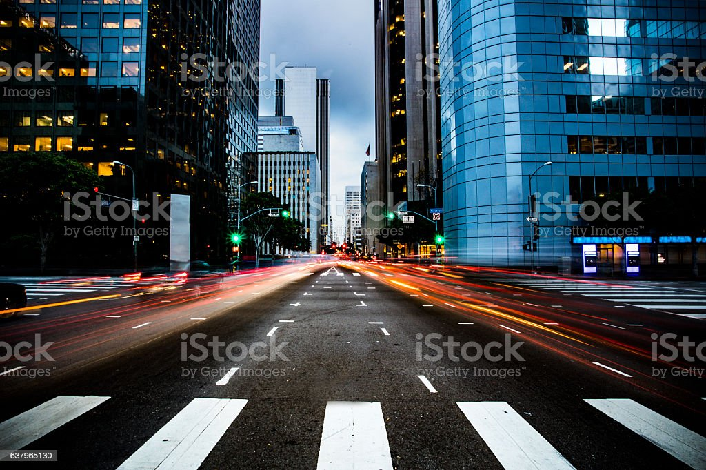 Busy Street in Los Angeles stock photo