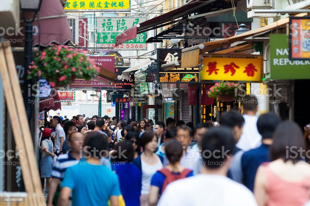 Busy street in Macao stock photo