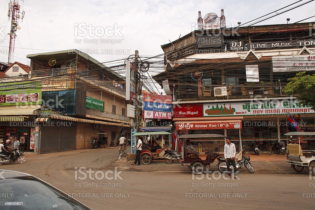 busy street in Siem Reap, Cambodia royalty-free stock photo